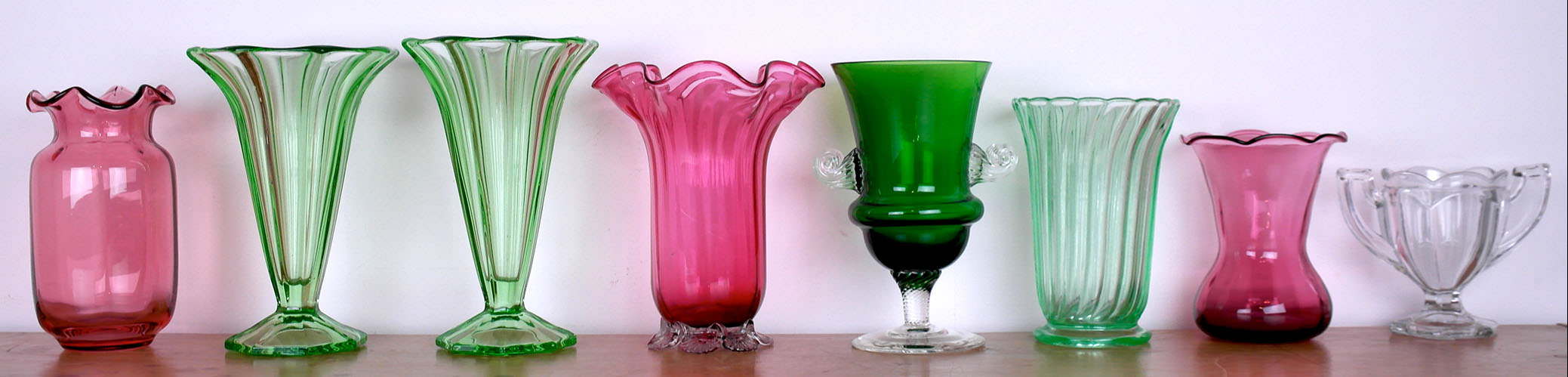 Victorian cranberry and Murano glassware