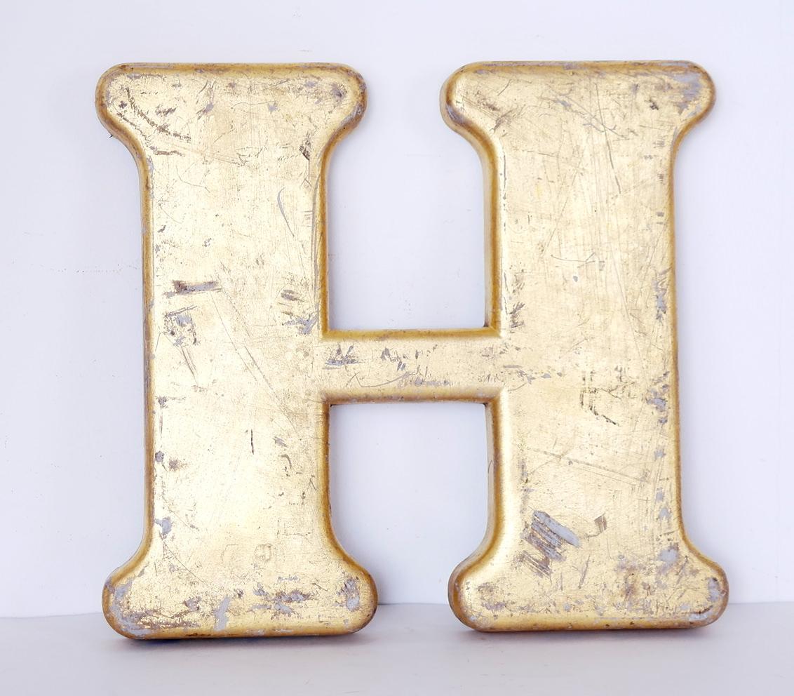 H Letter In Gold Vintage gold letter H