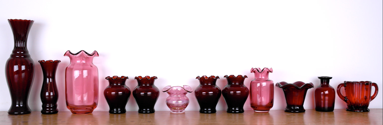 Vintage ruby and cranberry glassware vases