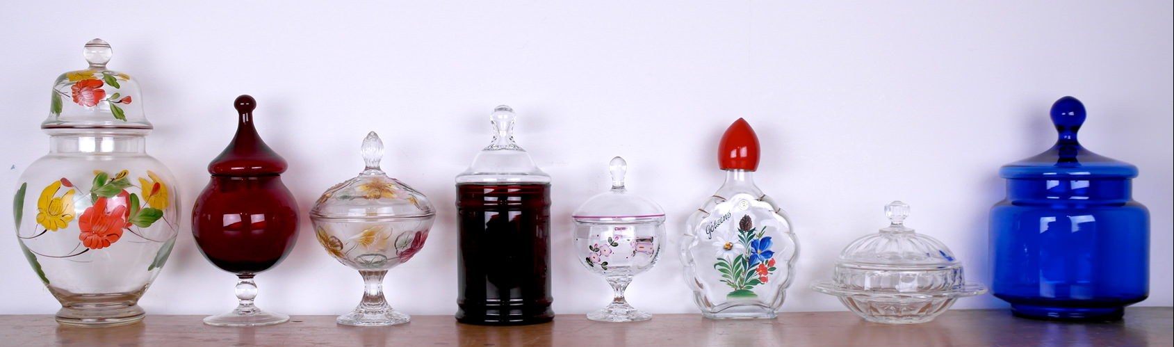 Vintage glass jars and dishes